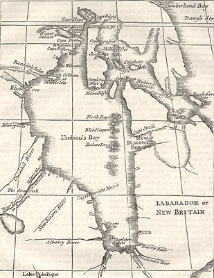 NEW YORK. Hudson's bay(From Dobbs, 1744) c1880 old antique map plan chart