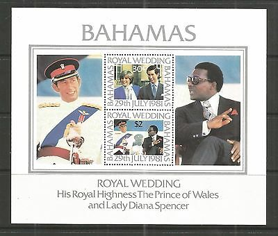 Bahamas 1981 Royal Wedding Minisheet Sg,ms588 U/m Nh Lot 30L