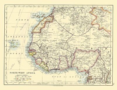 COLONIAL/FRENCH WEST AFRICA. Spanish Guinea. Rio de Oro. Nigeria 1920 old map