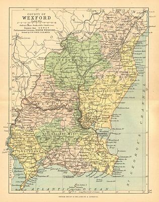 COUNTY WEXFORD. Antique county map. Leinster. Ireland. BARTHOLOMEW c1902