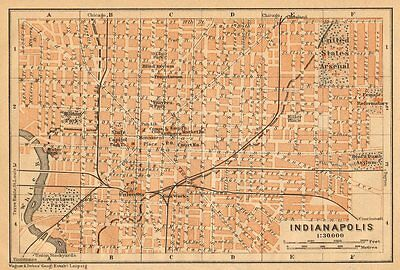 INDIANAPOLIS antique town city plan. Indiana. BAEDEKER 1904 old map