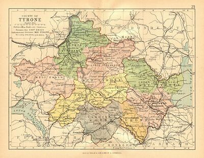 COUNTY TYRONE. Antique county map. Ulster. Northern Ireland. BARTHOLOMEW c1902