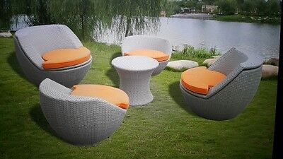 5Pcs Rattan Garden Furniture Set Chairs Sofa Table Outdoor Conservatory Wicker