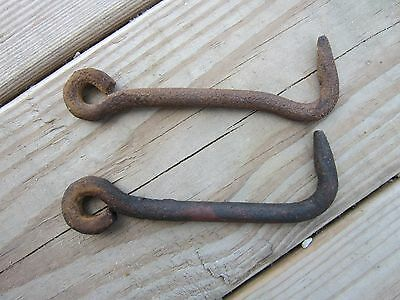"2 Vintage Primitve 5 1/8"" long Hand Forged Iron Barn Door Gate Latch Hook Rustic"