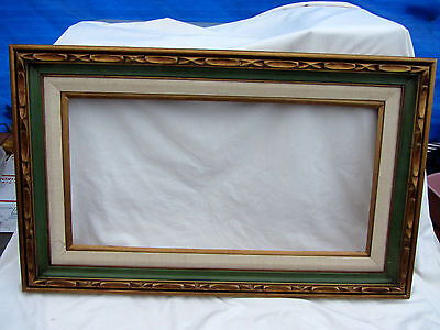 Large  Vintage Picture Frame 3 Connected Green Off-White & Gold