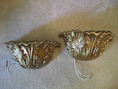 2 Vtg Hollywood Regency Mid Century ACANTHUS LEAVES Gold Gilt Wall Sconce Light