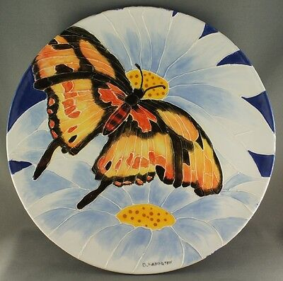 Hand Painted Pottery Monarch Butterfly Plate Artist Signed