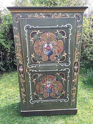 Original Antique Painted Cupboard Armoire Wardrode Green Floral Vintage Shop