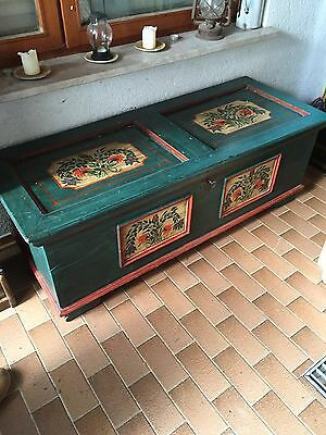 Authentic Antique Chest Trunk Store Dowry Marriage Gift Alpine Artisan Art & Key