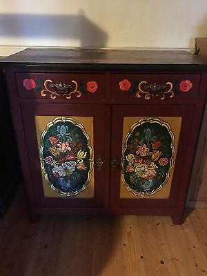 Old Alpine Farmhouse Kitchen Cafe Toy Cupboard Rustic Painted Rural Idyll Looks