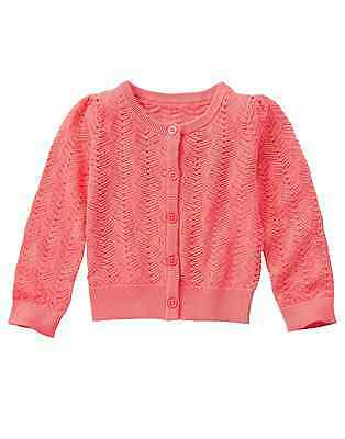 Gymboree TROPICAL BREEZE Girl Coral Pointelle Button Cardigan Sweater 4 5-6 7-8