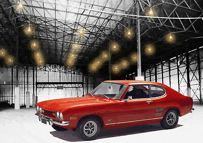 Automotive Art - Ford Capri  - Hand Finished, Limited Edition (25)