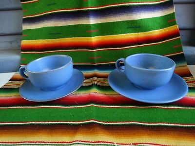 Catalina Island Red Clay Cups and Saucers set of 2 Blue Mint
