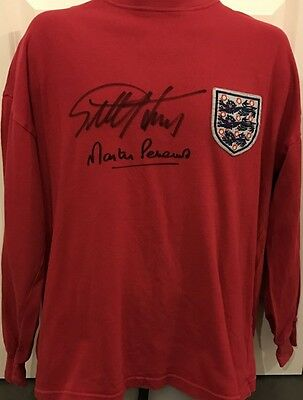 Signed Geoff Hurst Martin Peters England 1966 Retro World Cup Shirt  + Proof