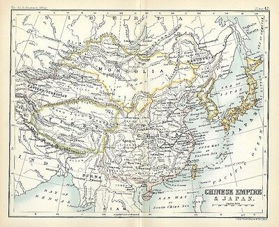 Original 1896 Map CHINESE EMPIRE Tibet Mongolia Manchuria Korea Japan Formosa