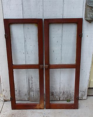 One Pair Antique Glass Pantry Cupboard Door Original Finish Shabby Old Vintage