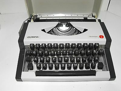 "Vintage Olympia Traveller Portable Typewriter With Case In ""GWO"""