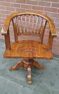 Vintage Wooden Swivel Captains Chair / Office Chair