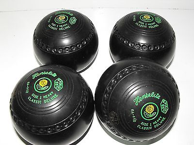 Henselite Size 1 Heavy Classic Delxe Gripped Lawn Bowls In Great Condition