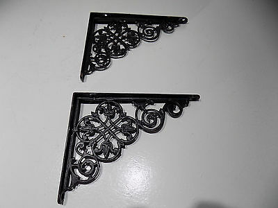 "2 Old Cast Iron Shelf Brackets  8"" x 6"""