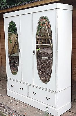 Antique Edwardian  Wardrobe Double Mahogany  Solid  Shabby Chic Very Pretty