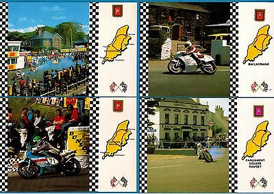 4 Motorcycle Racing Postcards - Isle of Man TT: Grandstand etc: Fisa (GB) Cards