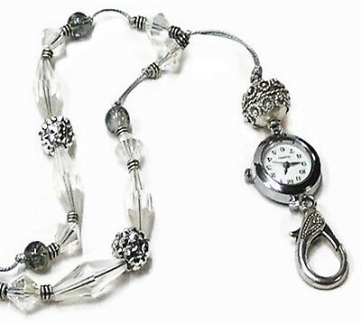Beaded Lanyard Necklace with watch for keys, work id badge holder, Silver Grey