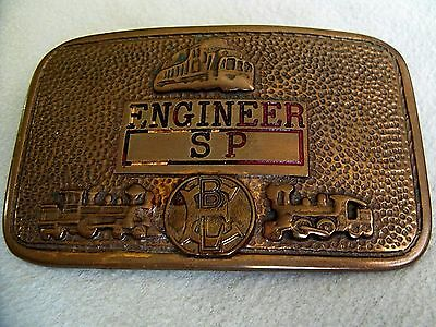 Vintage Southern Pacific Railroad Solid Bronze Engineer Belt Buckle