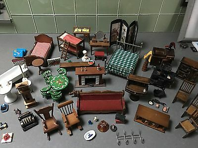 Look !Large Lot Vintage Doll House Furniture Accessories 60+ Pcs