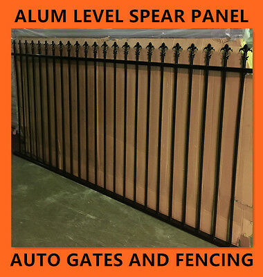 Aluminium Garden Fence Panel - Level Spear Black Fencing 1200mm High