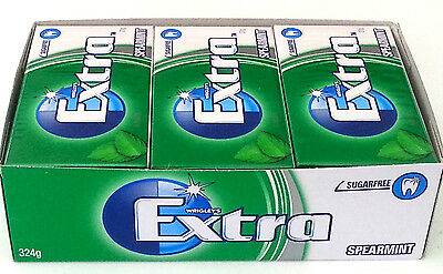 12 Packs Wrigley's Extra Spearmint Flavour Sugarfree Chewing Gum
