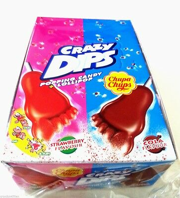 24 x Chupa Chups Crazy Dips Popping Candy + Lollipop  Strawberry & Cola Flavour