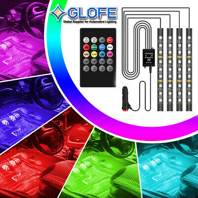 Full Color Interior Car LED Glow Kit Under Dash Foot Well inside Light -a