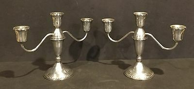 Vintage Pair Of Weighted Duchin Creation Sterling Silver Candleholders - 3 Cup