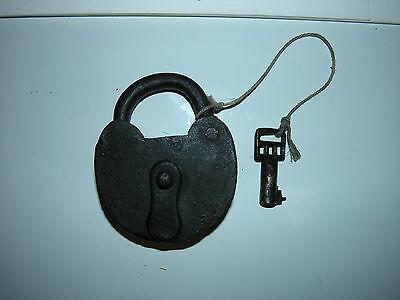 Antique Hand Made Black Iron Padlock with Key