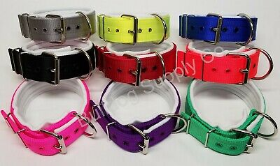 "2"" 3-Ply White Padded Nylon Heavy Duty Dog Collar for Pit Bull & Large Breeds"