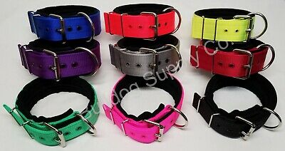 "2"" 3-Ply Black Padded Nylon Heavy Duty Dog Collar for Pit Bull & Large Breeds"