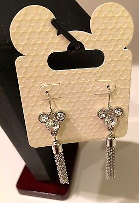 Disney Dangle MICKEY MOUSE  Crystal Glass Icon with Tassels Earrings NEW ON CARD