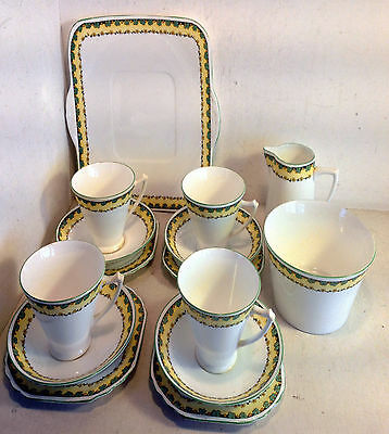 Heathcote Best Bone China Tea Set, Trios, Creamer & Sugar, Cake Plate (4454)