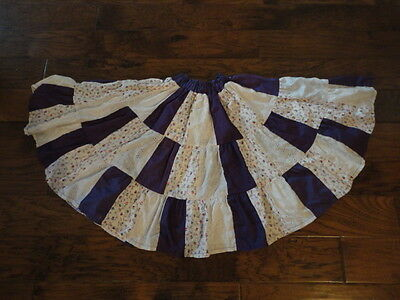 "Square Dance Skirt, 21"" Length, White/Purple/Floral            -sacurrie1"