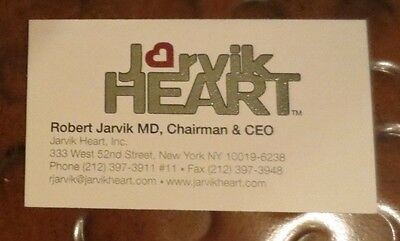 Dr Robert Jarvik inventor artificial heart signed autographed business card