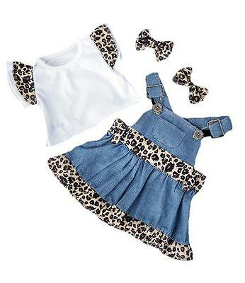 """BLUE DENIM & LEOPARD TOP AND DRESS TEDDY OUTFIT FITS 15""""-16"""" (40cm) BUILD A BEAR"""