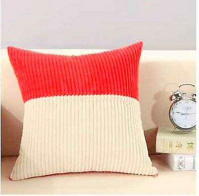 Double coloured RED & WHITE 100% cotton Corduroy Home Decor Cushion Cover 23""