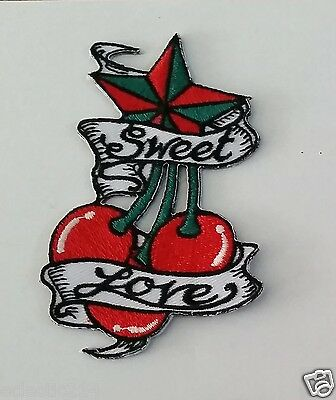 """""""ROCKABILLY / CHERRY / LOVE"""" Embroidered Patch Iron On 1950s Pin Up Punk TATTOO"""