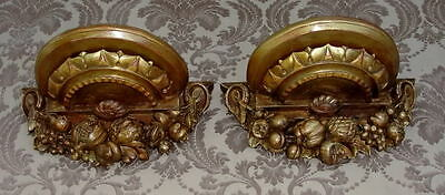 Antique Italian Carved Wood Gilded Architectural Wall Shelf Brackets Pair