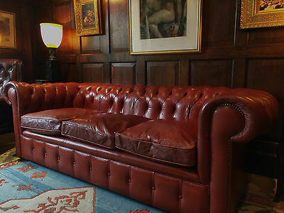 Antique Style Chesterfield Sofa Three Seater Settee Red Leather Button-Back