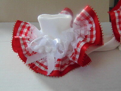 Girls Romany Bling School Dance Frilly Socks In Red Gingham~Wedding,party