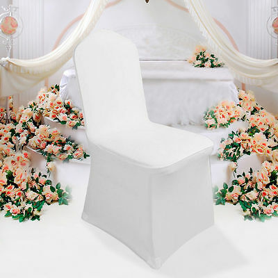 100 White Flat Front Covers Spandex Lycra Chair Cover Decor Covers Wedding Party