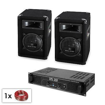 TWIN 16.5cm PA SUBWOOFER SPEAKER SET 125W RMS DJ AMP & CABLES * FREE P&P UK DEAL