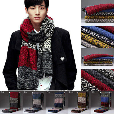180cm Mens Womens Couple's Knitting Wool Knitted Shawl Winter Warm Long Scarf C
